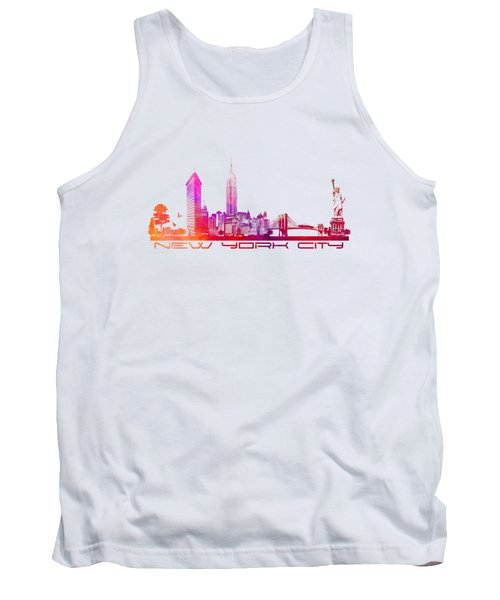 New York City Skyline Purple Tank Top by Justyna JBJart