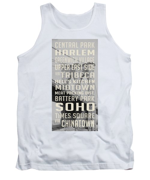 New York City Subway Stops Vintage Brooklyn Bridge Tank Top by Edward Fielding