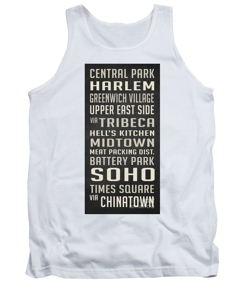 New York City Subway Stops Vintage Tank Top by Edward Fielding