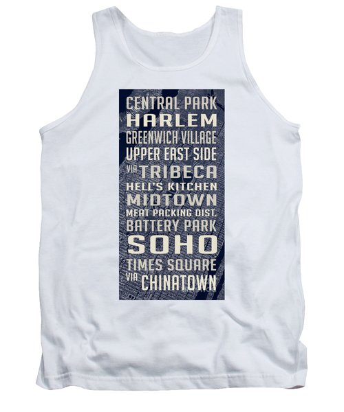 New York City Vintage Subway Stops With Map Tank Top by Edward Fielding
