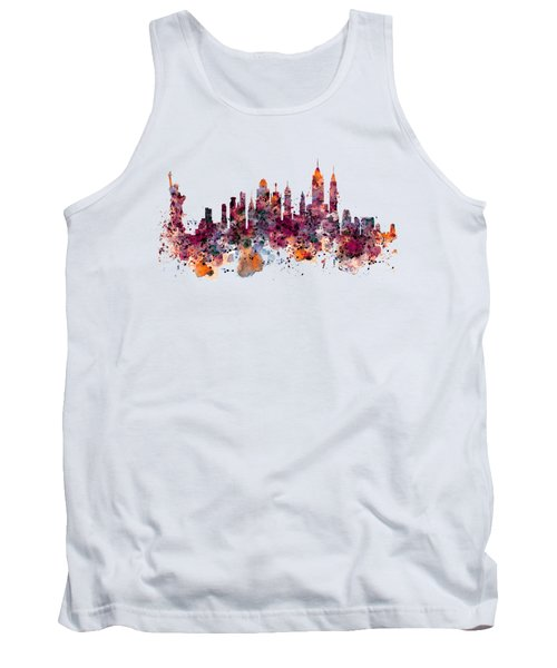 New York Skyline Watercolor Tank Top by Marian Voicu