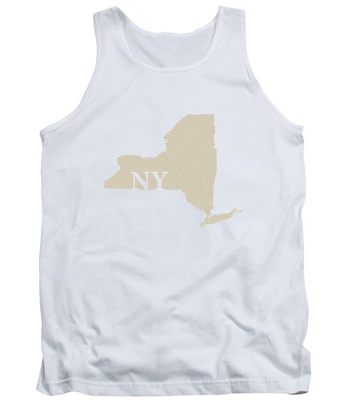 New York State Map With Text Of Constitution Tank Top