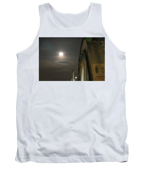Night Shot Of The Los Angeles 6th Street Bridge And Supermoon #2 Tank Top