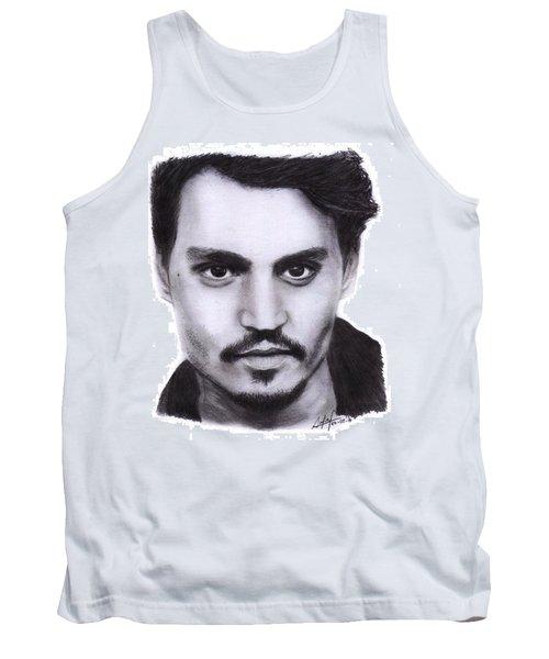 Johnny Depp Drawing By Sofia Furniel Tank Top by Jul V