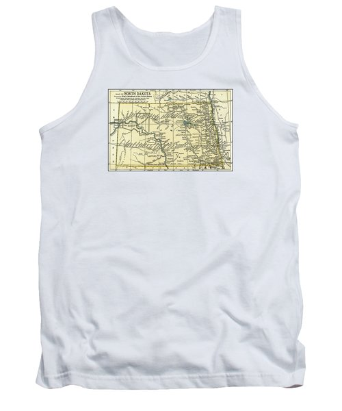 North Dakota Antique Map 1891 Tank Top