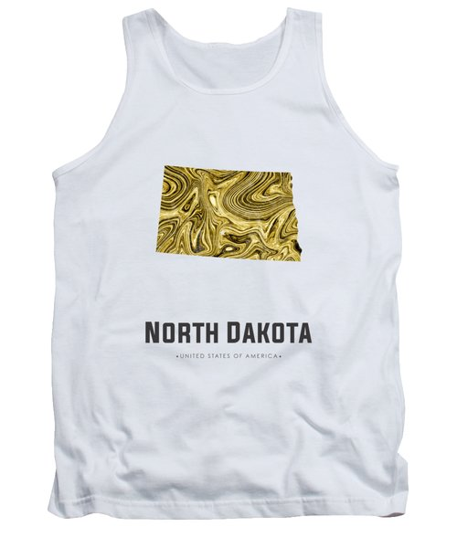 North Dakota Map Art Abstract In Golden Brown Tank Top