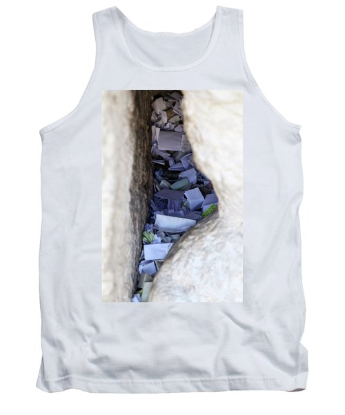 Tank Top featuring the photograph Notes In The Wailing Wall  by Yoel Koskas