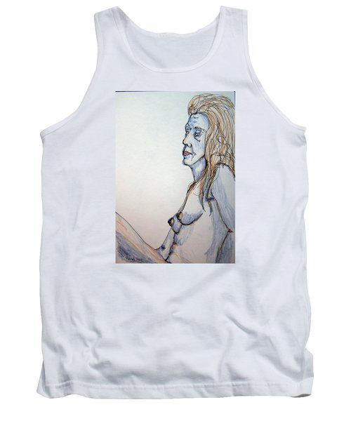 Nude With Blues Tank Top by Rand Swift