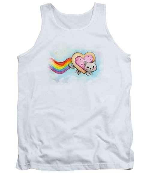 Nyan Cat Valentine Heart Tank Top by Olga Shvartsur