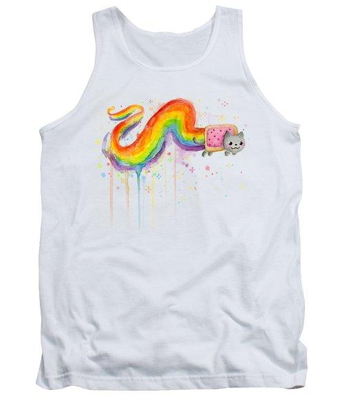 Nyan Cat Watercolor Tank Top by Olga Shvartsur
