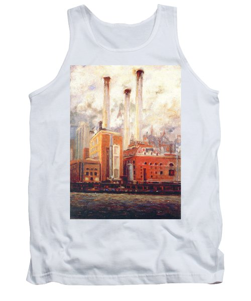 Tank Top featuring the painting Nyc- View From East River  by Walter Casaravilla
