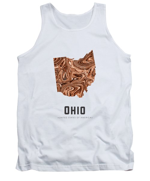 Ohio Map Art Abstract In Brown Tank Top