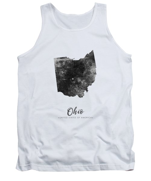 Ohio State Map Art - Grunge Silhouette Tank Top