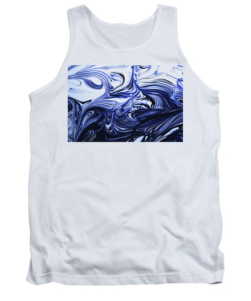 Oil Swirl Blue Droplets Abstract I Tank Top