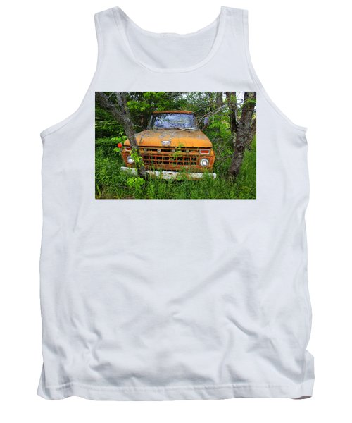 Old Abandoned Ford Truck In The Forest Tank Top