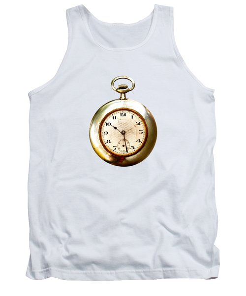 Tank Top featuring the photograph Old And Used Pocket Clock Om White Background by Michal Boubin