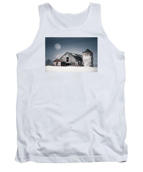 Old Barn And Winter Moon - Snowy Rustic Landscape Tank Top