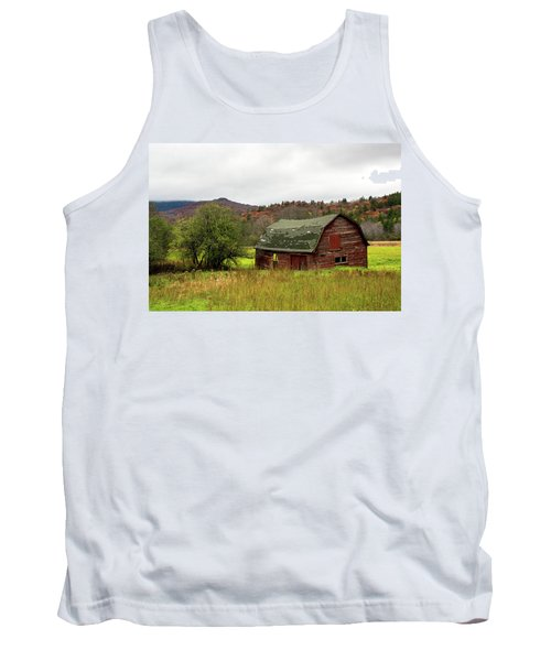 Tank Top featuring the photograph Old Red Adirondack Barn by Nancy De Flon