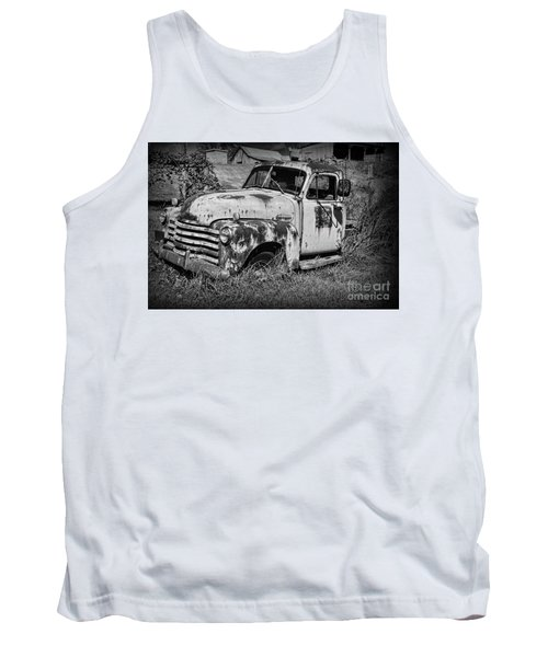 Tank Top featuring the photograph Old Rusty Chevy In Black And White by Paul Ward