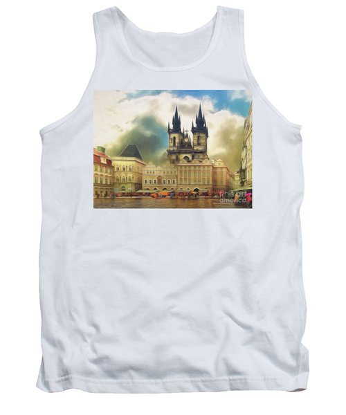 Tank Top featuring the photograph Old Town Square Prague In The Rain by Leigh Kemp