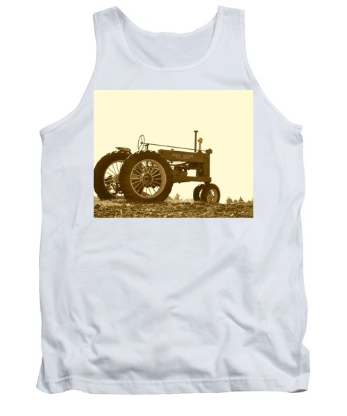 Old Tractor IIi In Sepia Tank Top