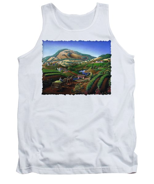 Old Wine Country Landscape - Delivering Grapes To Winery - Vintage Americana Tank Top