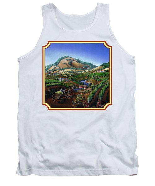 Old Wine Country Landscape Painting - Worker Delivering Grape To The Winery -square Format Image Tank Top