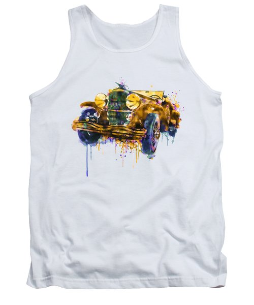 Oldtimer Automobile In Watercolor Tank Top