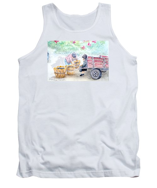 Tank Top featuring the painting Olive Pickers by Marilyn Zalatan