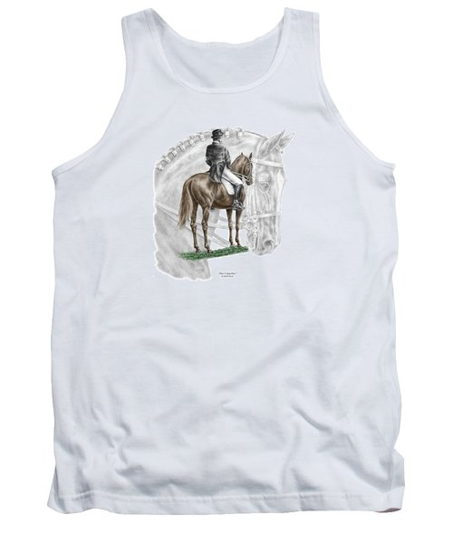 Tank Top featuring the drawing On Centerline - Dressage Horse Print Color Tinted by Kelli Swan