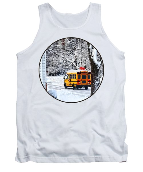 On The Way To School In Winter Tank Top by Susan Savad