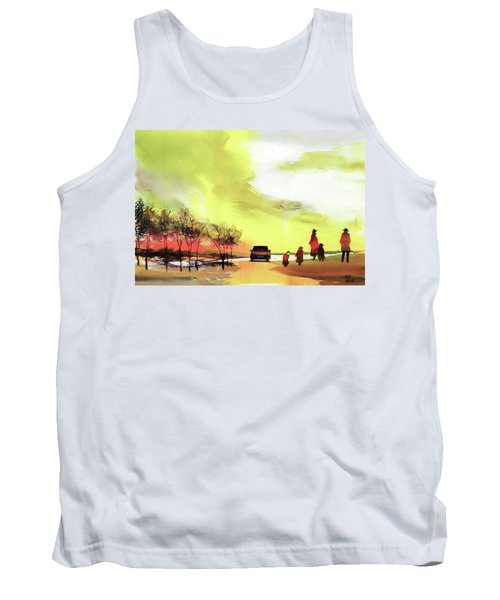 Tank Top featuring the painting On Vacation by Anil Nene