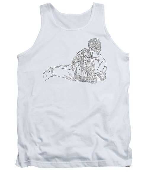 Tank Top featuring the mixed media One Line Drawing Lovers On The Beach by Vicki  Housel