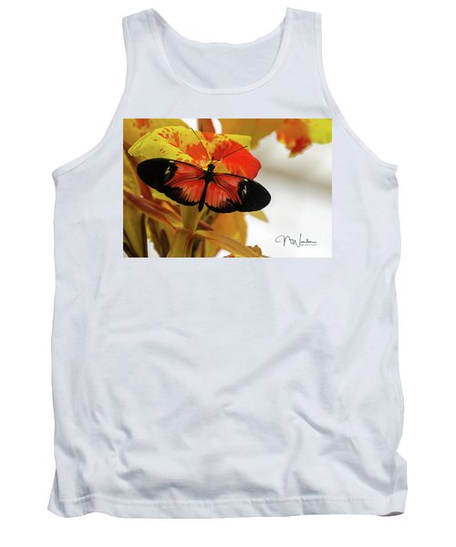 Orange And Black Butterfly Tank Top