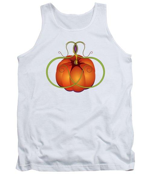 Orange Curvy Autumn Pumpkin Graphic Tank Top