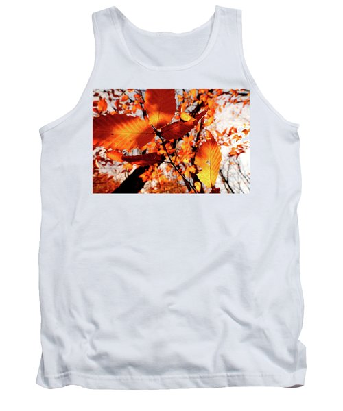 Orange Fall Leaves Tank Top