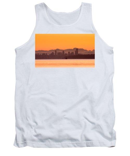 Seattle Skyline In Orange Tank Top by E Faithe Lester