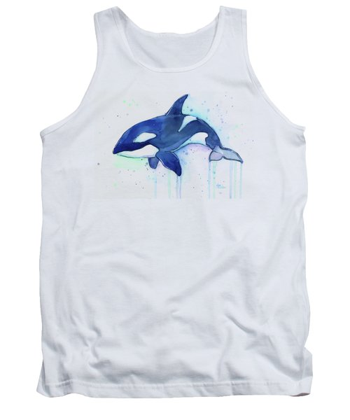 Orca Whale Watercolor Killer Whale Facing Right Tank Top