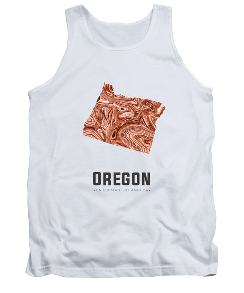 Oregon Map Art Abstract In Brown Tank Top