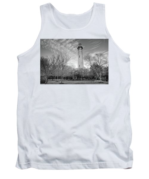 Outer Banks Winter At The Currituck Lighthouse Bw Tank Top by Dan Carmichael