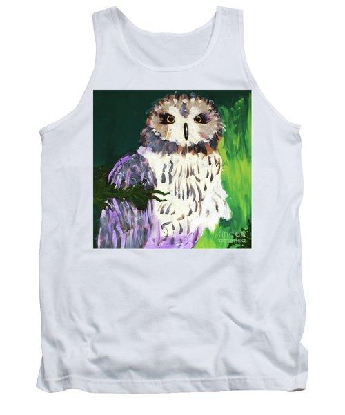 Owl Behind A Tree Tank Top