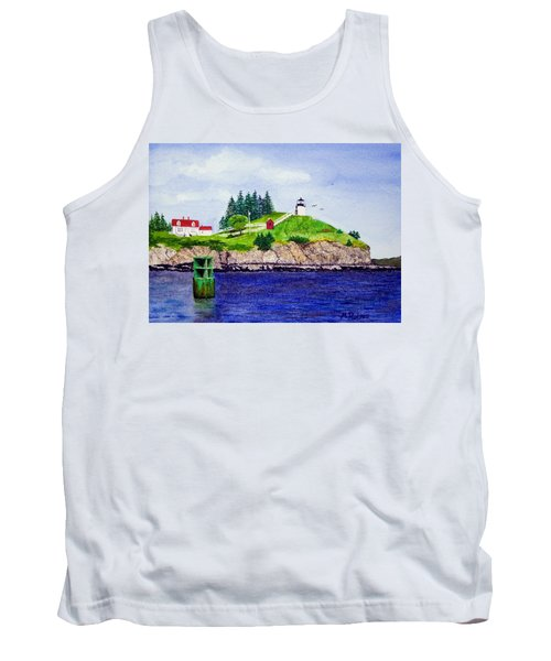 Owls Head Lighthouse Tank Top by Mike Robles