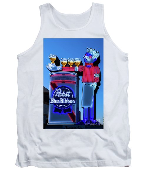 Pabst Blue Ribbon Neon Sign Fremont Street Tank Top by Aloha Art