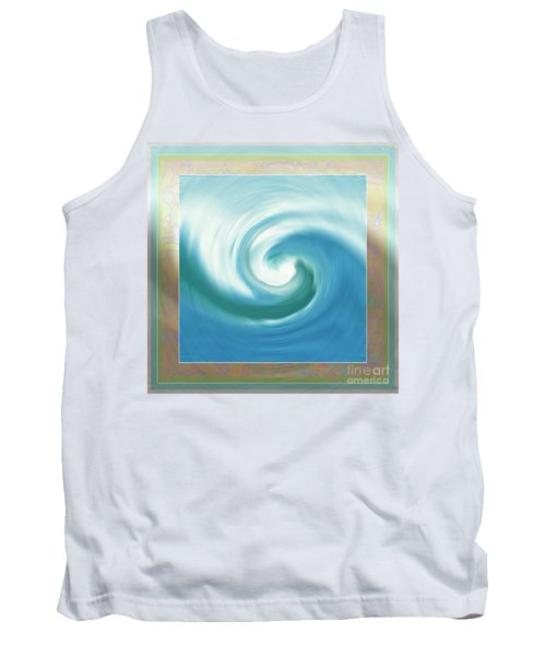 Pacific Swirl With Border Tank Top