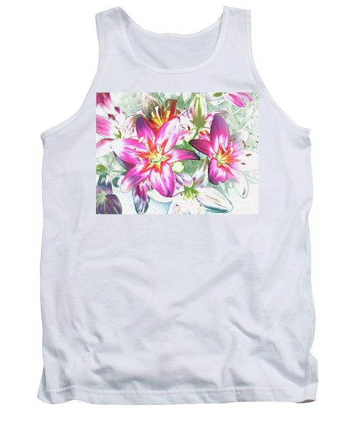 Tank Top featuring the painting Painterly Pink Tiger Lilies by Annie Zeno
