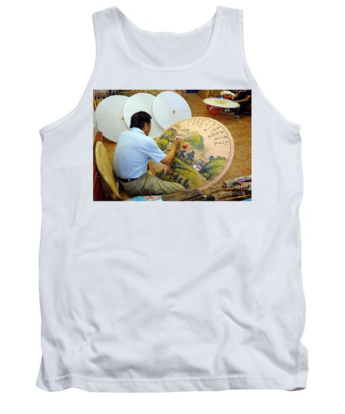 Tank Top featuring the photograph Painting Chinese Oil-paper Umbrellas by Yali Shi