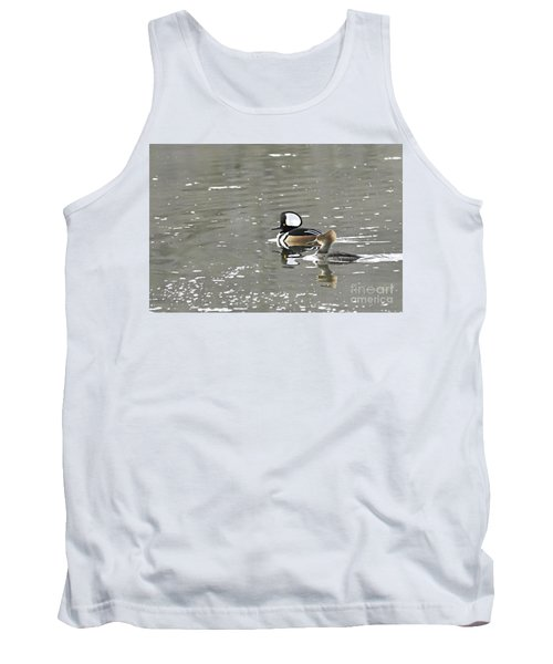 Tank Top featuring the photograph Pair Of Hooded Mergansers by Larry Ricker