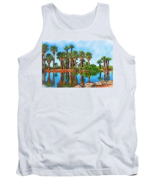 Palm Reflections Sketched Tank Top