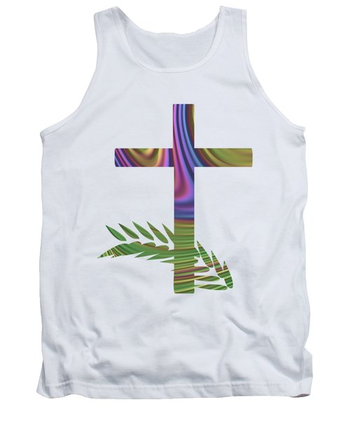 Palm Sunday Cross With Fractal Abstract Tank Top