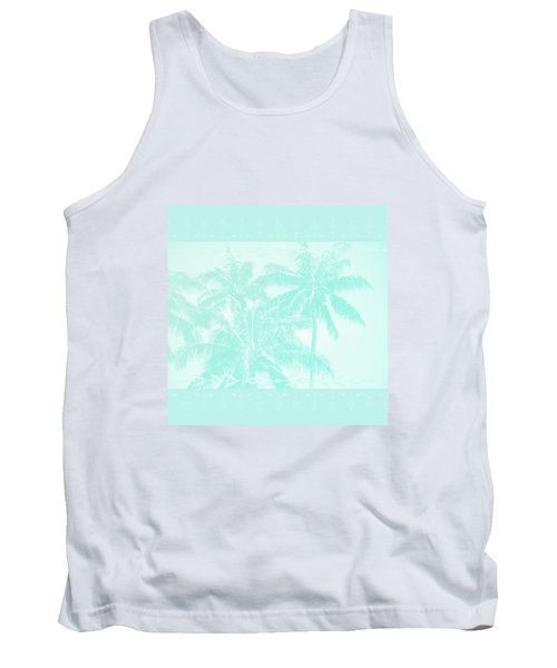 Palm Trees Hawaii Tropical Cyan Tank Top